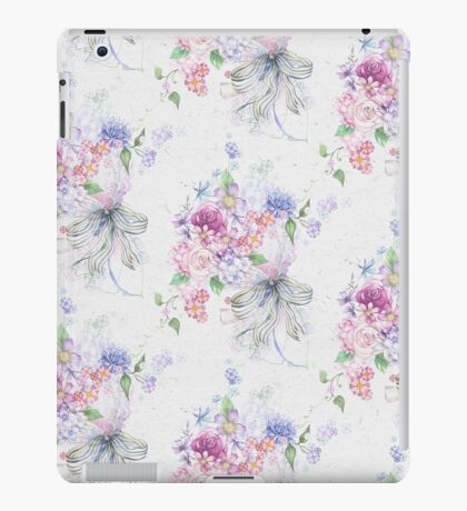 Elegant pink vintage roses ribbon floral pattern  iPad Case/Skin