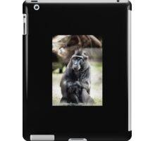 Black macaque monkey sitting iPad Case/Skin
