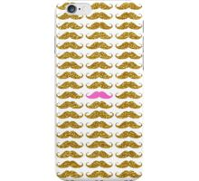 Funny pink faux gold glitter mustaches pattern iPhone Case/Skin