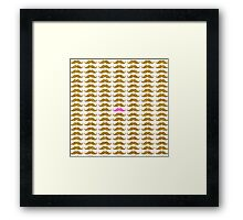 Funny pink faux gold glitter mustaches pattern Framed Print