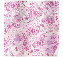 Vintage chic pink white watercolor floral pattern  Poster