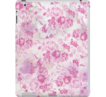Vintage chic pink white watercolor floral pattern  iPad Case/Skin