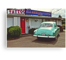 American tattoo parlor Canvas Print