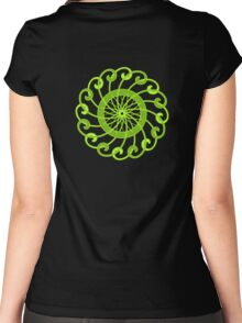 lime green spin flower Women's Fitted Scoop T-Shirt
