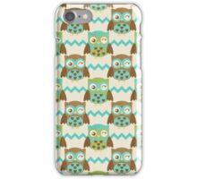 Textured Chevron Owl in Brown Teal and Olive Green iPhone Case/Skin