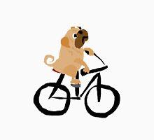 Funny Pug Dog Riding a Bicycle Unisex T-Shirt