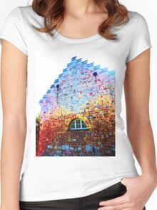 Scary Crying House - Unique Photography  Women's Fitted Scoop T-Shirt