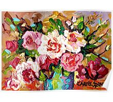ORIGINAL PAINTING FOR SALE COLORFUL ROSESIN A BLUE VASE Poster