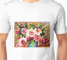 ORIGINAL PAINTING FOR SALE COLORFUL ROSESIN A BLUE VASE Unisex T-Shirt
