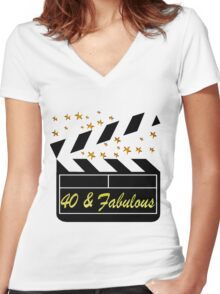 40TH MOVIE QUEEN Women's Fitted V-Neck T-Shirt