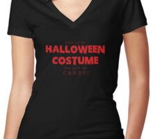 """""""Halloween Costume"""" -red font Women's Fitted V-Neck T-Shirt"""
