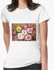 FLORAL BOUQUET OF ROSES COLORFUL ORIGINAL PAINTINGS FOR SALE Womens Fitted T-Shirt