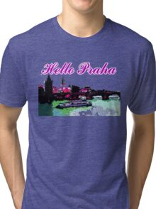 Beautiful praha castle& bridge art Tri-blend T-Shirt