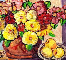 YELLOW FLOWERS WITH PEARS BEAUTIFUL AND ORIGINAL FLORAL  by Carole  Spandau