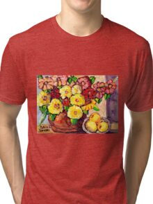 YELLOW FLOWERS WITH PEARS BEAUTIFUL AND ORIGINAL FLORAL  Tri-blend T-Shirt