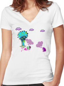 Unique funny cartoon about life Women's Fitted V-Neck T-Shirt