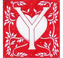 Red Heart Letter Y Photographic Print
