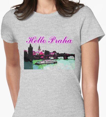 Beautiful Praha castle and karls bridge art Womens Fitted T-Shirt