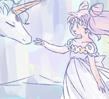Sailor Mini Moon and Pegasus by nevertoolatexx