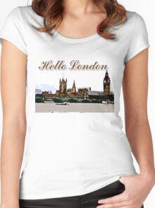 Beautiful London Bigben& Thames river art Women's Fitted Scoop T-Shirt