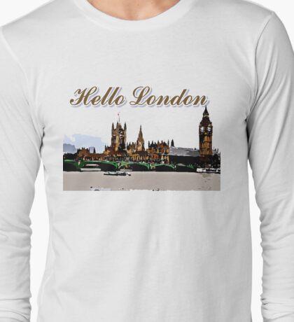 Beautiful London Bigben& Thames river art Long Sleeve T-Shirt