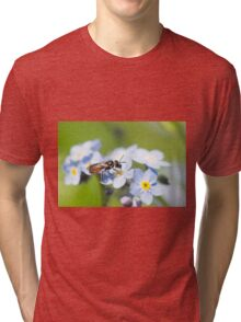 Halictidae Bee on Forget-Me-Nots Tri-blend T-Shirt