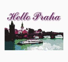 Beautiful Praha castle and karls bridge art One Piece - Short Sleeve