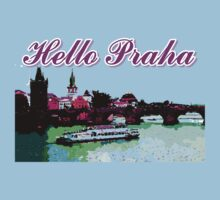 Beautiful Praha castle and karls bridge art Kids Tee