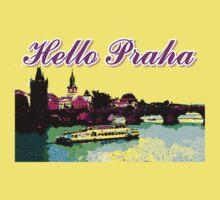 Beautiful Praha castle and karls bridge art Kids Tee