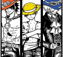One Piece Brothers - colored hats by seviesphere
