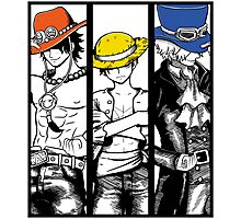 One Piece Brothers - colored hats Photographic Print