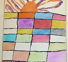 Here Comes The Sun,1970 Watercolor by Stacey Lazarus
