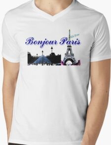 Beautiful architecture Luvoure museum ,Effel tower Paris france graphic art Mens V-Neck T-Shirt