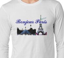 Beautiful  Luvoure museum ,Effel tower Paris france graphic art Long Sleeve T-Shirt