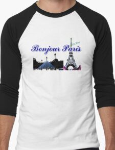 Beautiful architecture Luvoure museum ,Effel towerParis france graphic art Men's Baseball ¾ T-Shirt