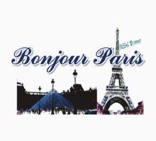 Beautiful Effel tower& Luvoure museum Paris france graphic art Kids Tee