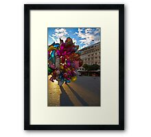 BALLOONS COLORFUL CITY SQUARE PLAZA Framed Print
