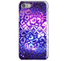 TRIBAL LEOPARD GALAXY Colorful Bold Animal Print Pattern Deep Violet Eggplant Purple Blue Galaxy Abstract iPhone Case/Skin
