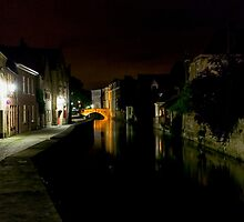 Night Canal Bruges Belgium by MikeAndrew