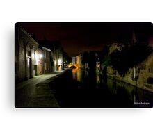 Night Canal Bruges Belgium Canvas Print