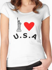 I Heart United States of America Women's Fitted Scoop T-Shirt