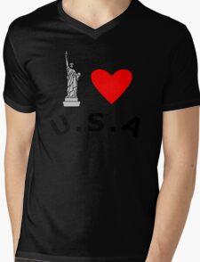 I Heart United States of America Mens V-Neck T-Shirt