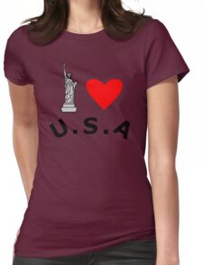I Heart United States of America Womens Fitted T-Shirt