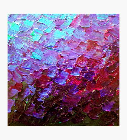 MERMAID SCALES Colorful Ombre Abstract Acrylic Impasto Painting Violet Purple Plum Ocean Waves Art Photographic Print