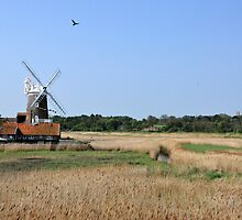 Cley Windmill with royal wedding bunting by cleywindmill