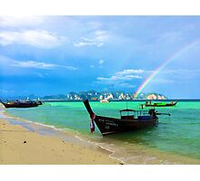 Rainbow Meets Ocean Photographic Print