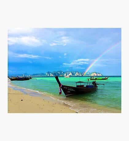 Rainbow Meets Ocean Photographic Print
