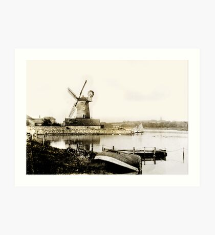 Cley Windmill marsh tide 1900 Art Print