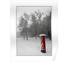 Winter snow and a letterbox Poster