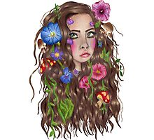 I wish I was a forest fae with flowers in my hair Photographic Print